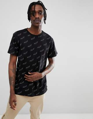 HUF t-shirt with all over bolt logo print in black