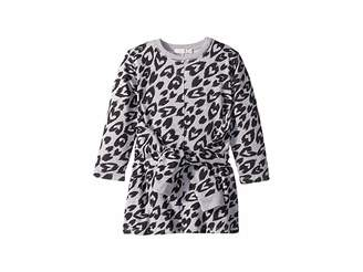 Stella McCartney Cloud Tie Front Long Sleeve Heart Cheetah Sweater Dress (Toddler/Little Kids/Big Kids)