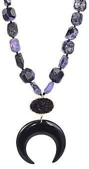 Nest Charoite Black Horn Crescent Pendant Necklace