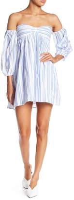 Romeo & Juliet Couture Striped & Lace Off-the-Shoulder Sweetheart Dress