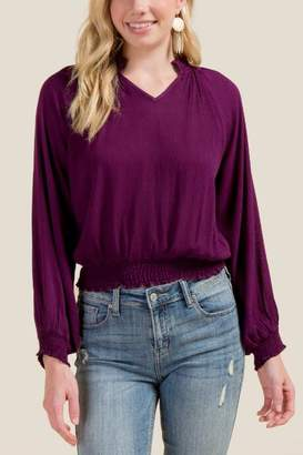 francesca's Molly Smocked Waist Blouse - Purple