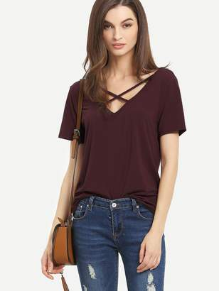 9085965499c9d Shein Criss Cross Front Casual T-shirt
