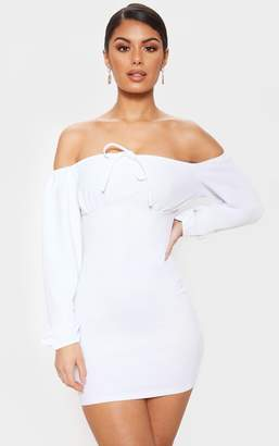 b4b89c43f04 PrettyLittleThing White Ruched Bust Bodycon Dress