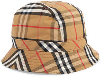 3025926534b Burberry Checked Cotton-canvas Bucket Hat - Yellow