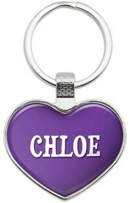 Chloé Generic Names Female Metal Heart Keychain Key Chain Ring, Purple