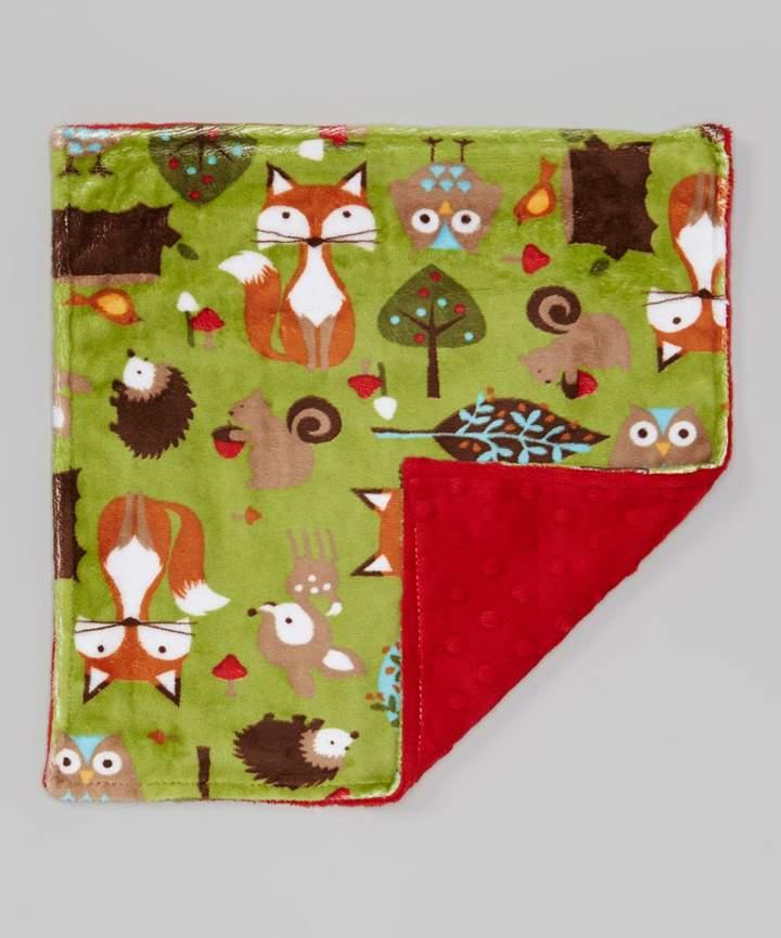 14'' x 14'' Green Forest & Scarlet Minky Lovey