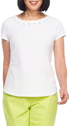 HEARTS OF PALM Hearts Of Palm Blush Strokes-Womens Scallop Neck Short Sleeve T-Shirt