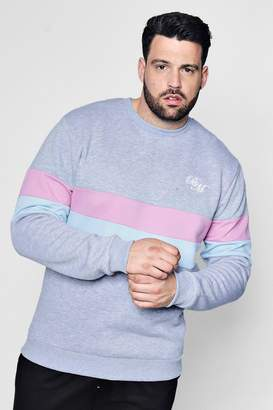 boohoo Big And Tall MAN Embroidered Colour Block Sweater