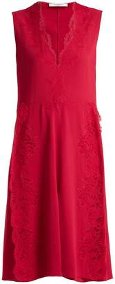 Givenchy Deep V-neck floral lace-trimmed cady dress