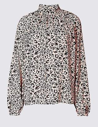 M&S Collection Animal Print Funnel Neck Long Sleeve Blouse
