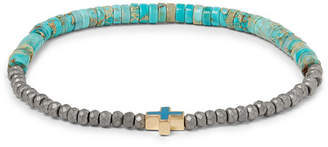 Luis Morais Hematite, Turquoise And 14-Karat Gold Bracelet