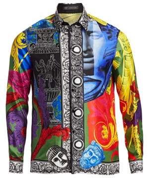 Versace Multicolor Baroque Silk Shirt