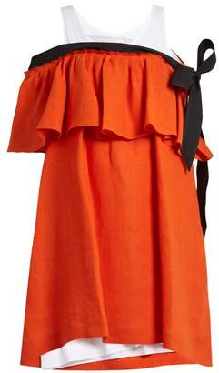 Isa Arfen Mali Baby Off The Shoulder Linen Dress - Womens - Orange Multi