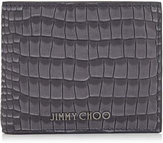 Jimmy Choo MARK Slate Crocodile Printed Nubuck Leather Bi-Fold Wallet