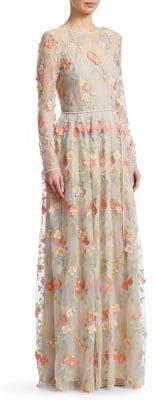 ML Monique Lhuillier Long-Sleeve Mesh Maxi Dress