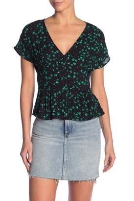 HIATUS Floral Button Front Short Sleeve Blouse