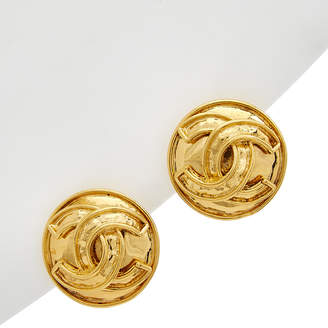 Chanel Gold-Tone Cc Round Clip-On Earrings