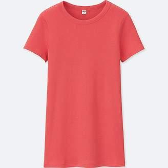 Uniqlo Women's Supima Cotton Ribbed Crewneck Short-sleeve T-Shirt