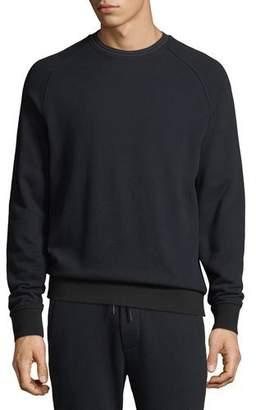 Vince Men's Striped-Rib Crewneck Raglan-Sleeve Sweatshirt