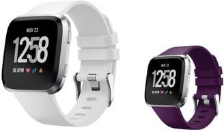 Fitbit Versa Bands Small by Zodaca 2-PACK (White + Purple) Replacement Bands SMALL Size Adjustable Wrist Band Soft Rubber Silicone Strap Clasp Buckle For Versa Fitness Smartwatch White + Purple