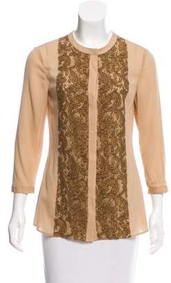 Burberry Lace-Paneled Long Sleeve Top