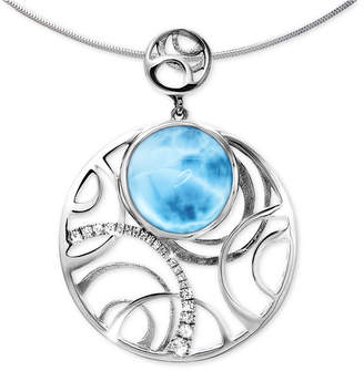 "Marahlago Larimar & White Sapphire (1/5 ct. t.w.) Openwork 21"" Pendant Necklace in Sterling Silver"