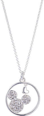 Disney Cry Womens Crystal Pure Silver Over Brass Mickey Mouse Pendant Necklace