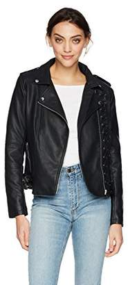 Members Only Women's Vegan Leather Laced Biker Jacket