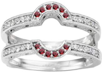 TwoBirch Genuine Ruby Mounted In Sterling Silver Oval Shaped Halo Style Ring Guard (0.21ctw)