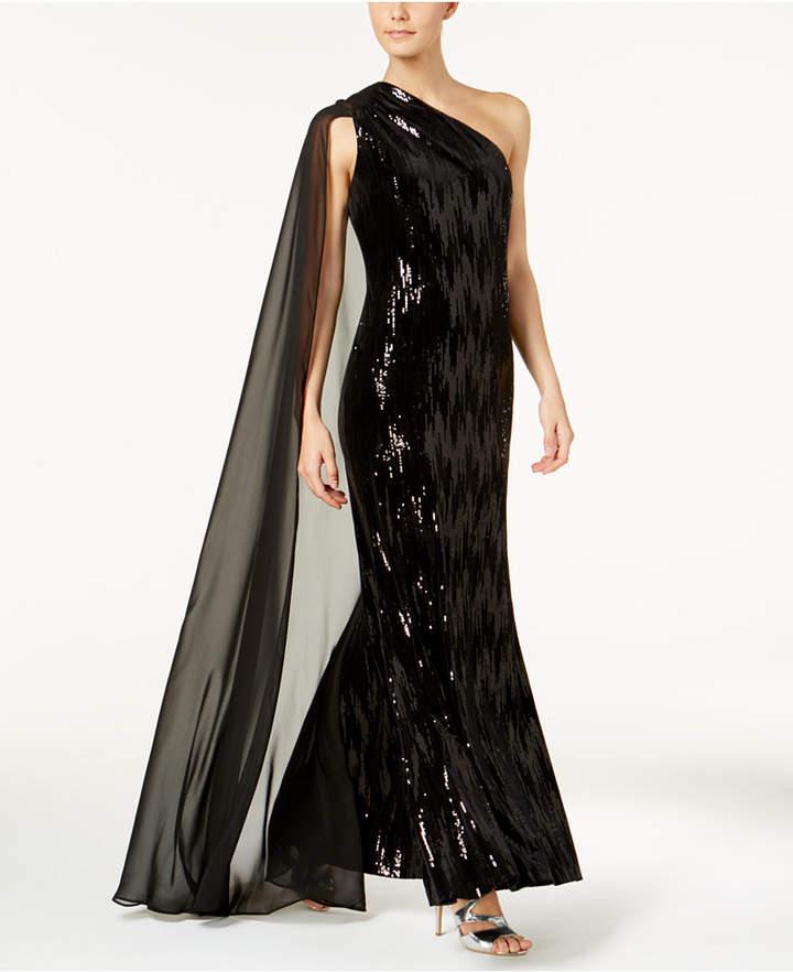 Calvin Klein Sequined Velvet One-Shoulder Cape Gown