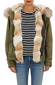 Mr & Mrs Italy Women's Canvas Fur-Trimmed Mini-Parka - Army, Natural