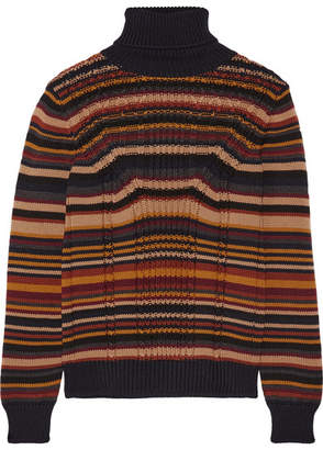 Prada - Striped Cable-knit Wool Turtleneck Sweater - Navy