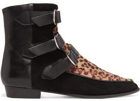 Isabel Marant Rowi Leather Suede And Leopard-Print Calf Hair Boots