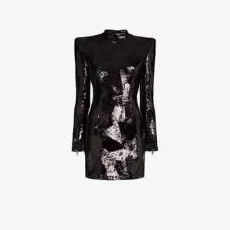 Balmain padded shoulder sequin mini dress