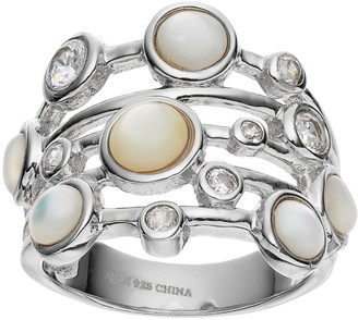 Mother of Pearl Sophie MillerSterling Silver Mother-of-Pearl & Cubic Zirconia Ring
