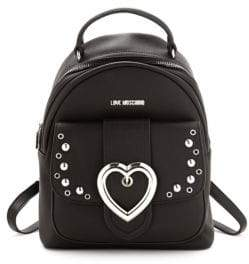 Love Moschino Studded Heart Buckle Backpack b0a518f5ed80f