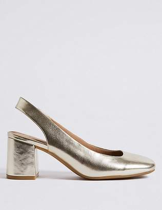 Marks and Spencer Wide Fit Block Heel Slingback Court Shoes