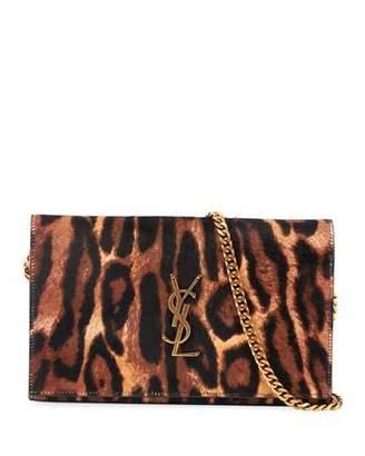 Saint Laurent Monogram Leopard-Print Wallet On Chain