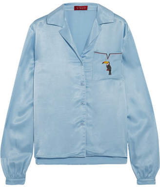 Staud - Sho Embroidered Satin Shirt - Blue