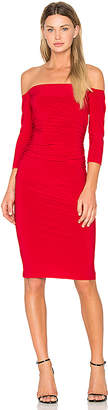 Norma Kamali Off Shoulder Shirred Dress in Red $135 thestylecure.com