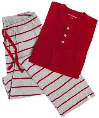 Burt's Bees Henley & Gingerbread Stripe Organic Adult Mens Lounge Pants & Tee