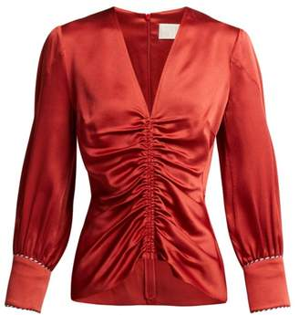 Peter Pilotto Ruched Satin Blouse - Womens - Red