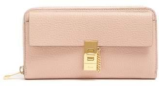 Chloé Drew Zip Around Leather Wallet - Womens - Light Pink