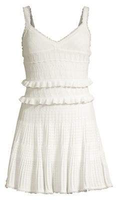 Herve Leger Women's Crochet V-Neck Fit-&-Flare Dress - Alabaster - Size Large