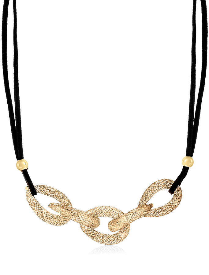 14k Gold-Plated & Black Chain-Link Necklace