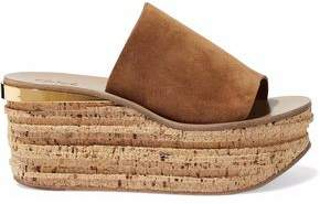 Chloé Camille Suede And Cork Platform Mules