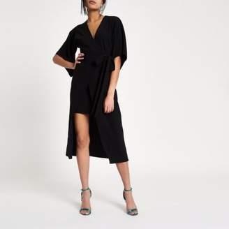 River Island Womens Black kimono sleeve wrap midi dress