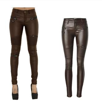 lexiart PU Leather Pants for Women Sexy Tight Stretchy Rider Leggings Coffee (US 6, )