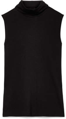 The Row Clovis Jersey Turtleneck Top - Black