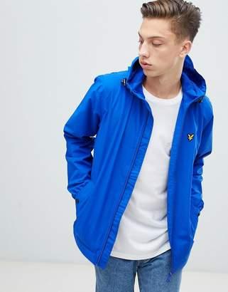 Lyle & Scott zip thru hooded windbreaker in blue